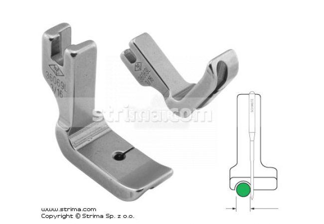 Patka pro všívání kedru pro šicí stroje, levá 4.8mm P69L3/16 [36069L 3/16]